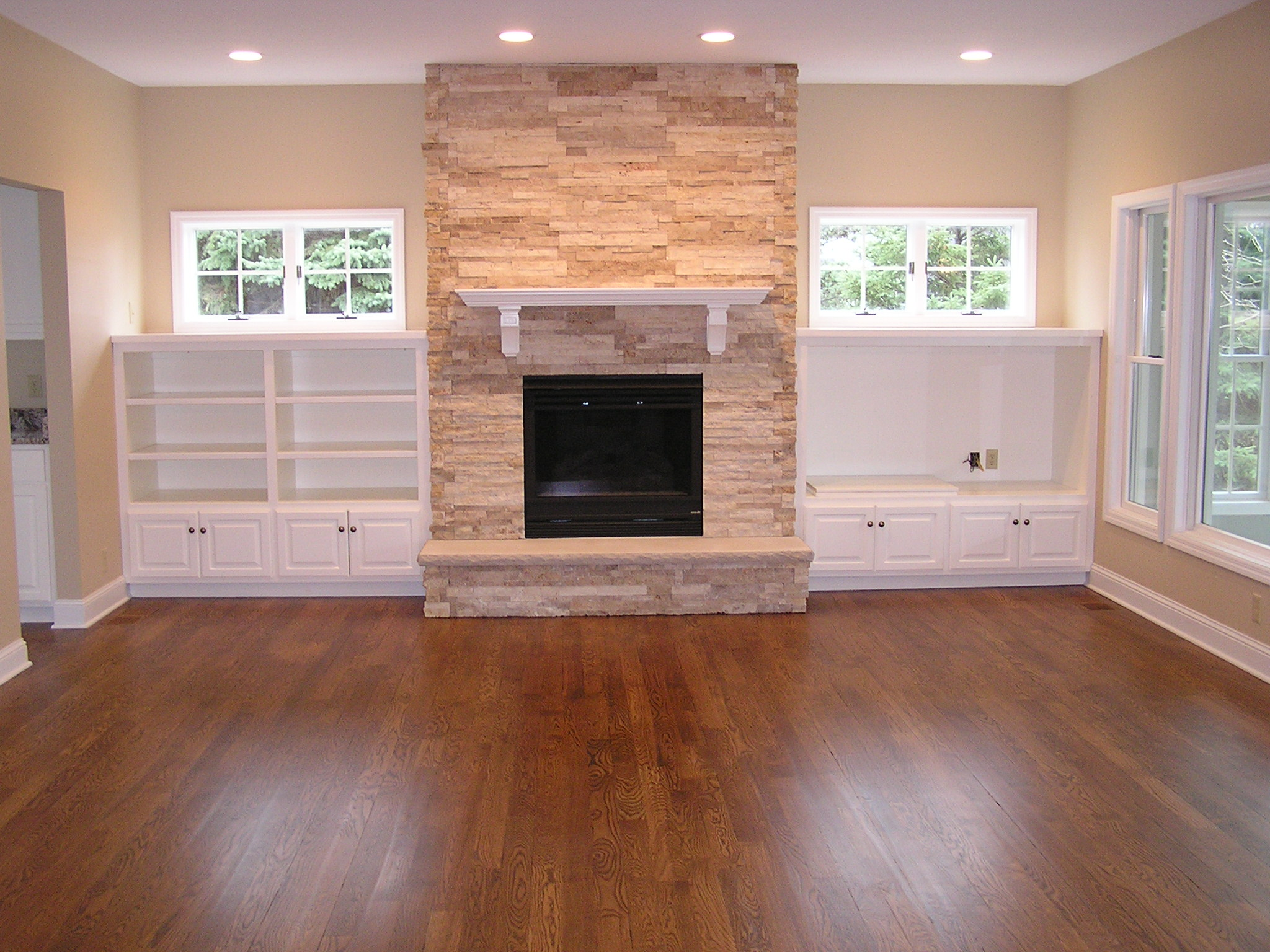 Hardwood floors and gas fireplace