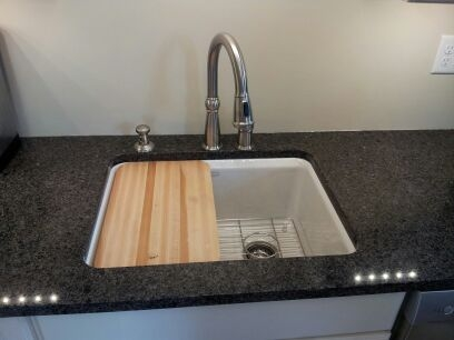 sink with cutting board