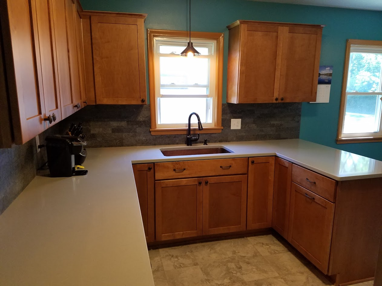Kitchen Remodel With Maple Cabinets And Hanstone Quartz