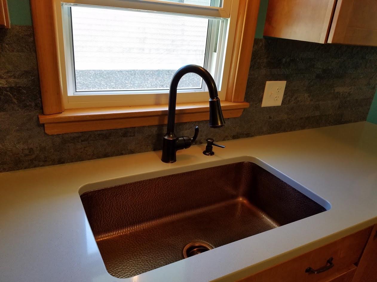 Copper sink & Moen faucet