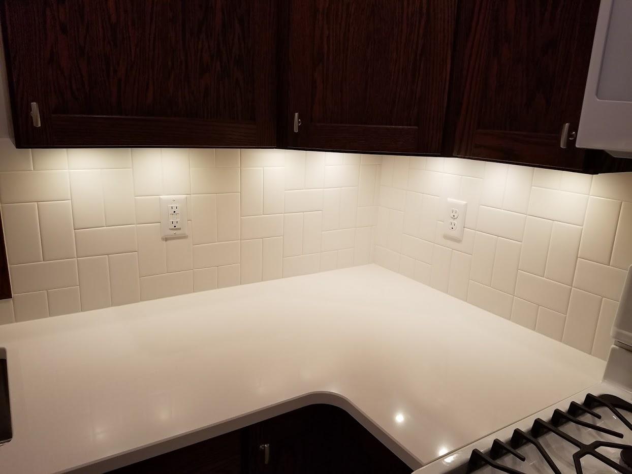 quartz and white tile