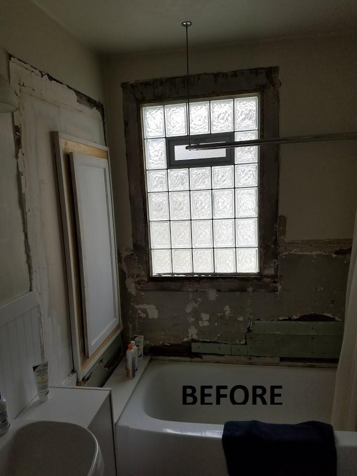 water damaged bathroom before restoration