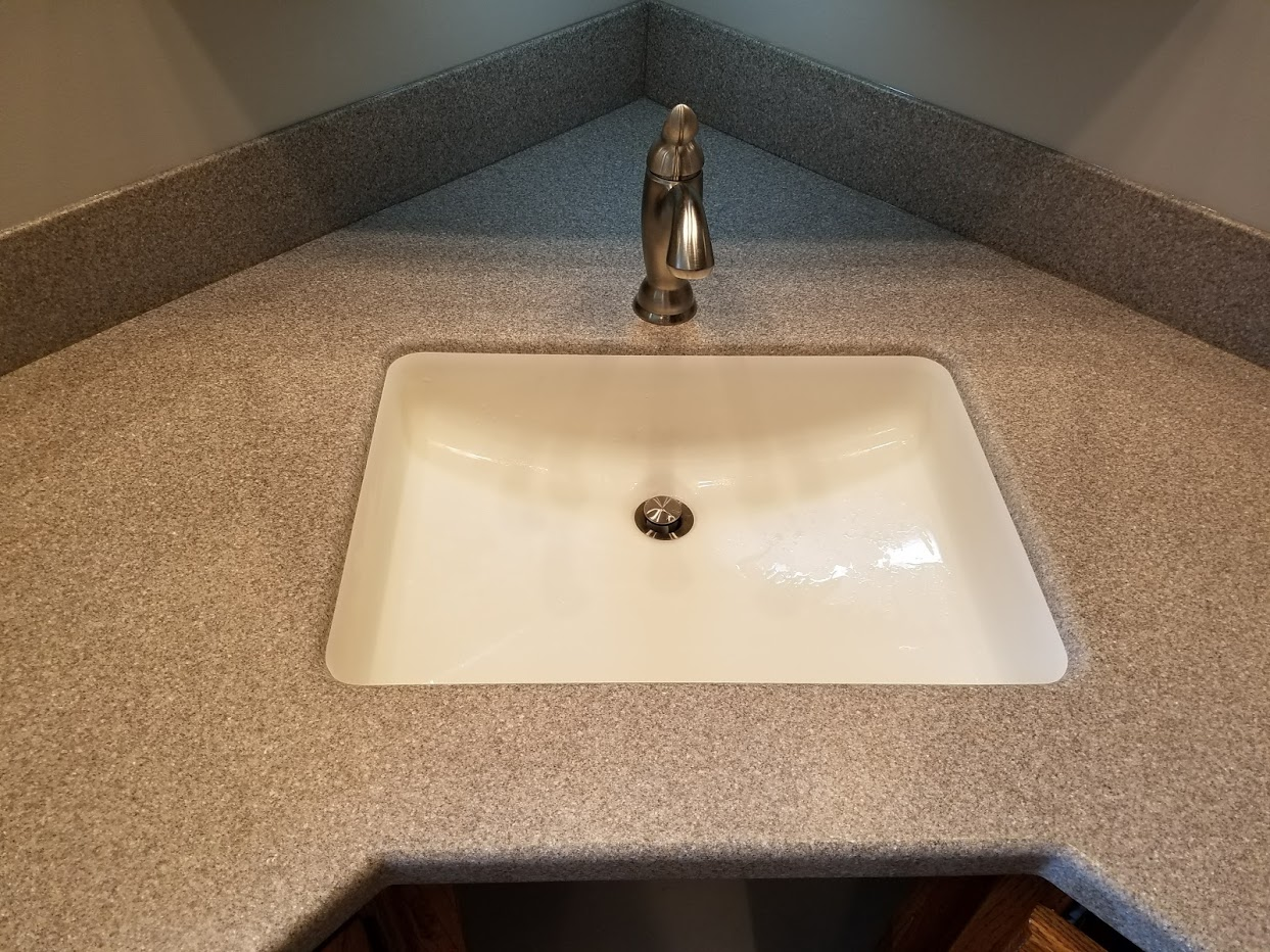 Corian countertop with integrated sink