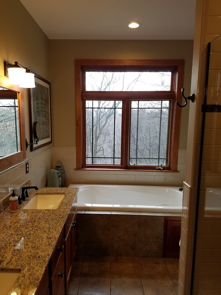 bathtub with window view
