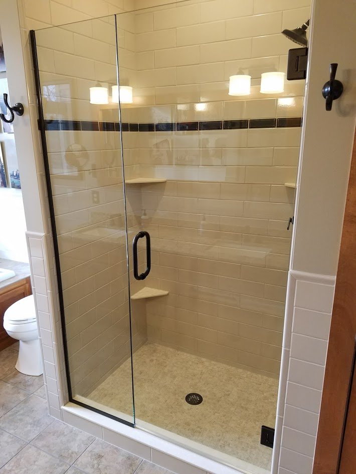 ceramic tile shower with custom glass
