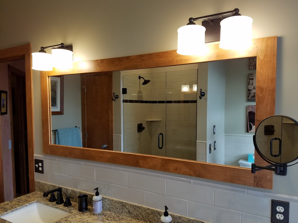 maple bathroom mirror