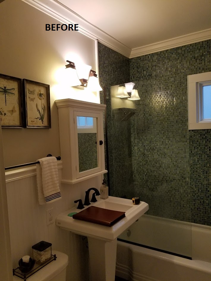 bathroom with awful green mosaic tile
