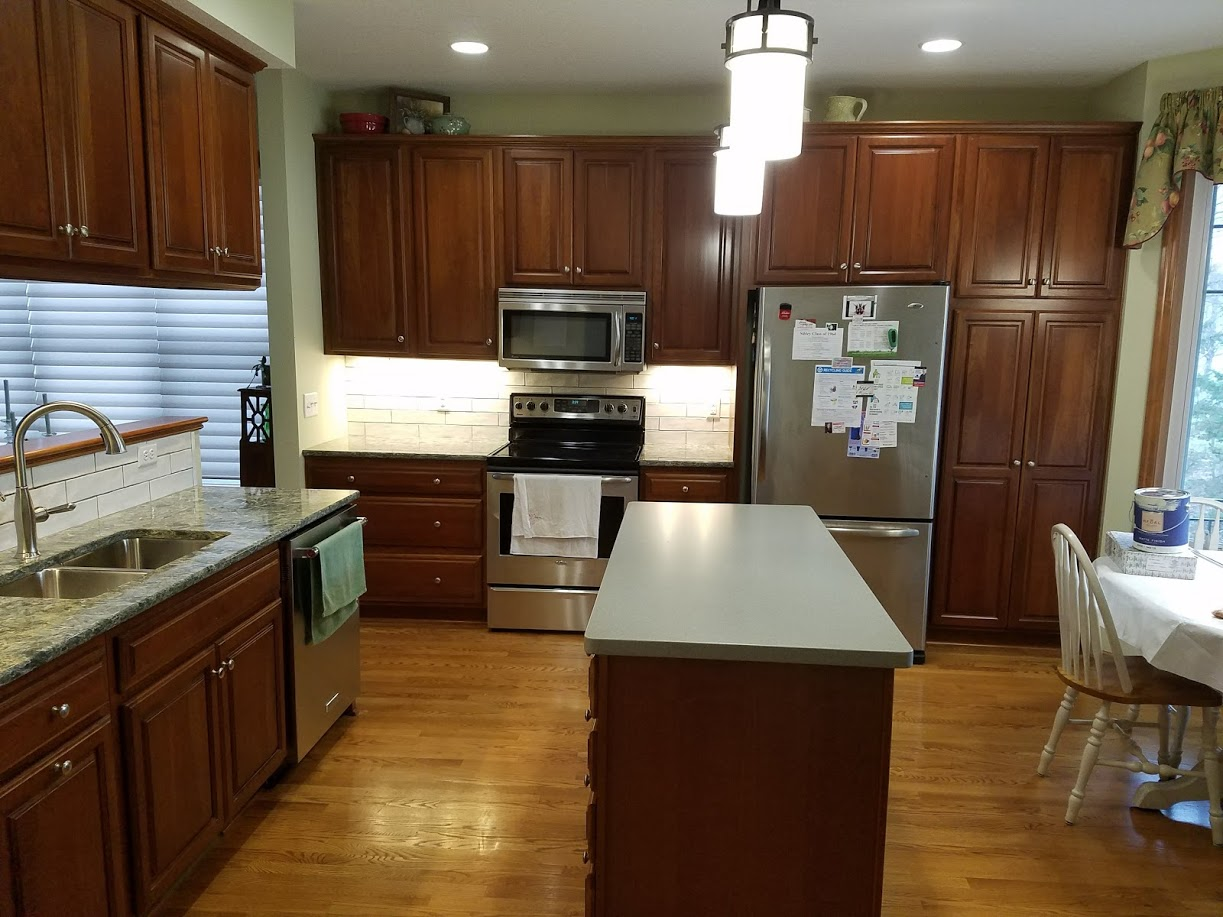 kitchen with cherry cabinets